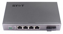 SF&T SF-1000-41HS5b PoE коммутатор Gigabit Ethernet на 4 порта. Порты: 4 x GE (10/100/1000Base-T) с PoE (до 25